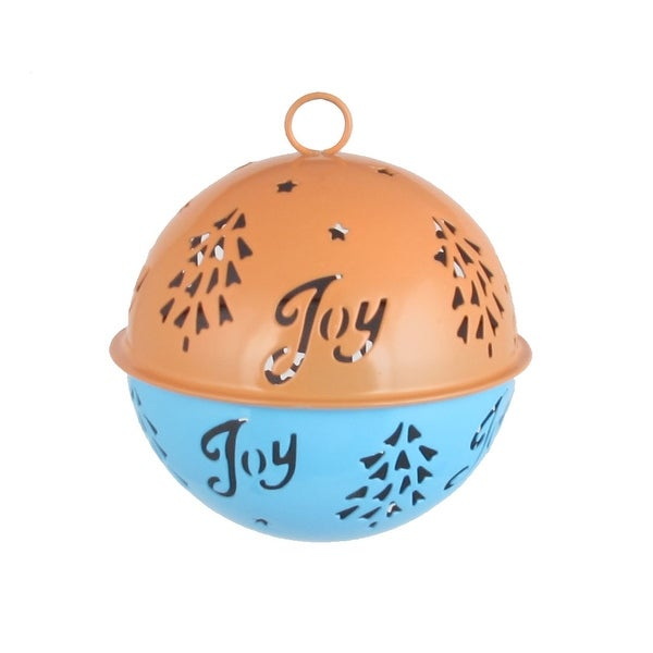 Metal Xmas Case Ring Bell Christmas Tree Ornament Blue Orange 85mm