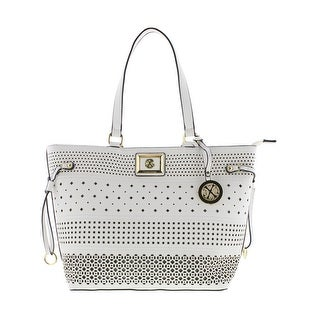 Christian Lacroix Womens Renee Tote Handbag Perforated Faux Leather - Large