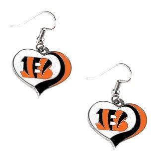 Cincinnati Bengals NFL Glitter Heart Earring Swirl Charm Set