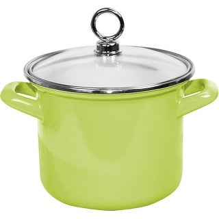 "Link to Calypso Basics by Reston Lloyd Enamel Stockpot with Glass Lid, 3.5-Quart, Lime - 10"" x 8"" x 8.5"" Similar Items in Cookware"
