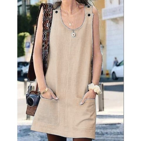 Women's Pocket Sleeveless Button Strap Dress