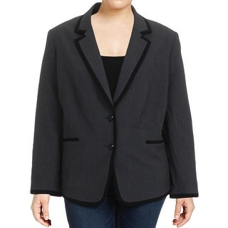 Tahari ASL Womens Plus Two-Button Blazer Pattern Contrast Trim - 20W