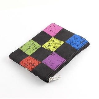 Zippered Grid Pattern Nylon Mesh Coin Purse Toiletry Cosmetic Bag Multicolor