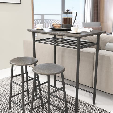 3 Piece Bar Table Set, Pub Table Counter Height Dining Set Table and 2 Stools with Storage Rack for Kitchen Home
