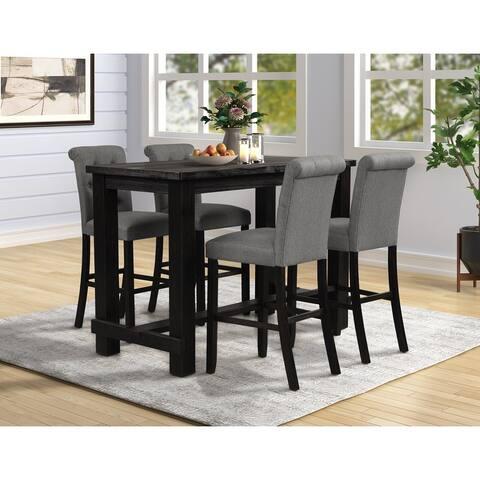 Leviton Antique Black Finished Wood 5-Piece Pub Set, Table with 4 Upholstered Barstools