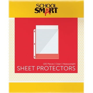 School Smart Polypropylene Heavy Weight Reinforced Standard-Weight Sheet Protector, Crystal Clear, Top Loading, Pack of 100