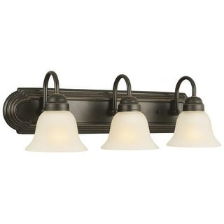 Design House 506618 Allante Traditional / Classic 3 Light Down Lighting Bathroom Vanity Fixture with Frosted Glass