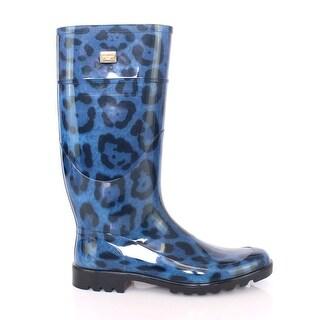 Dolce & Gabbana Blue Leopard Rubber Rain Boots Shoes Wellies - 39