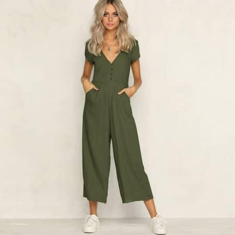Button-Down Linen Jumpsuit, S-2X