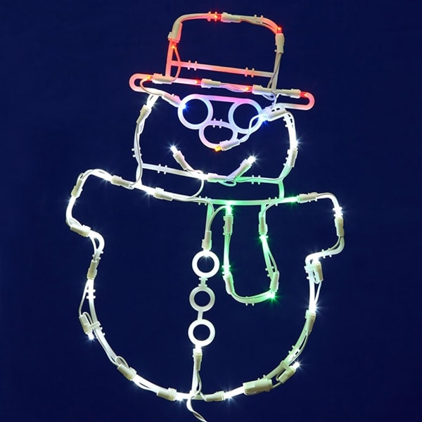"""17"""" Lighted LED Smiling Snowman Christmas Window Silhouette Decoration - WHITE"""
