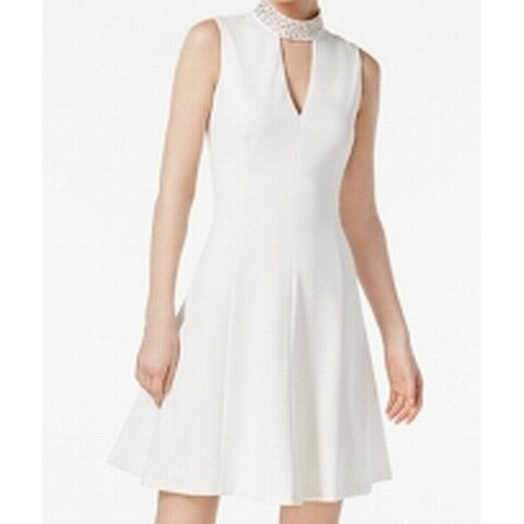 Calvin Klein White Womens Cut Out Embellished A-Line Dress