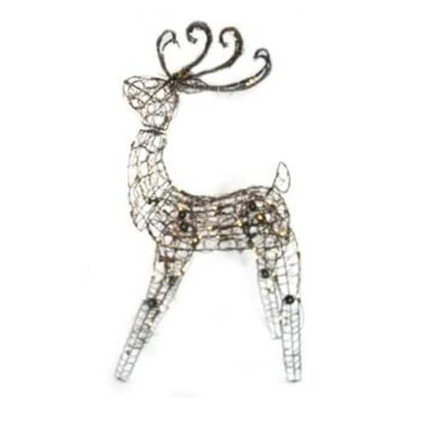 "48"" Lighted Brown Grapevine Multi Posing Deer Christmas Yard Art Decoration"