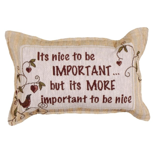 """Set of 4 Red and Khaki """"It's nice to be Important..."""" Pillows 9"""" x 12"""""""
