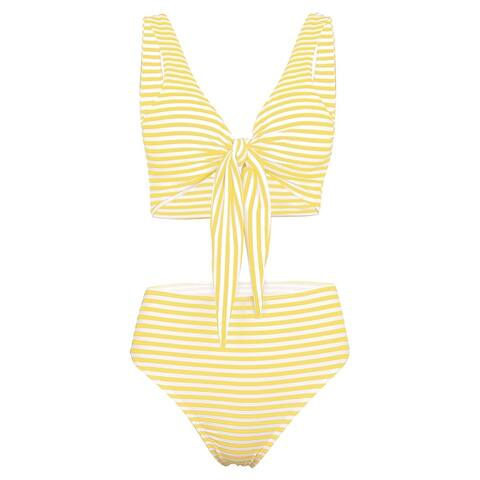 1133746275 QZUnique Women's Summer Two Pieces Swimwear Stripes Printed Bikinis Lacing  Straps Tying High Waist Swimsuit