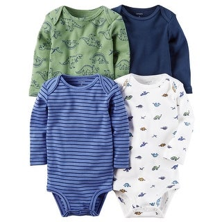 Carter's Baby Boys' 4 Pack Long-Sleeve Original Bodysuits, 3 Months - dinosaurs