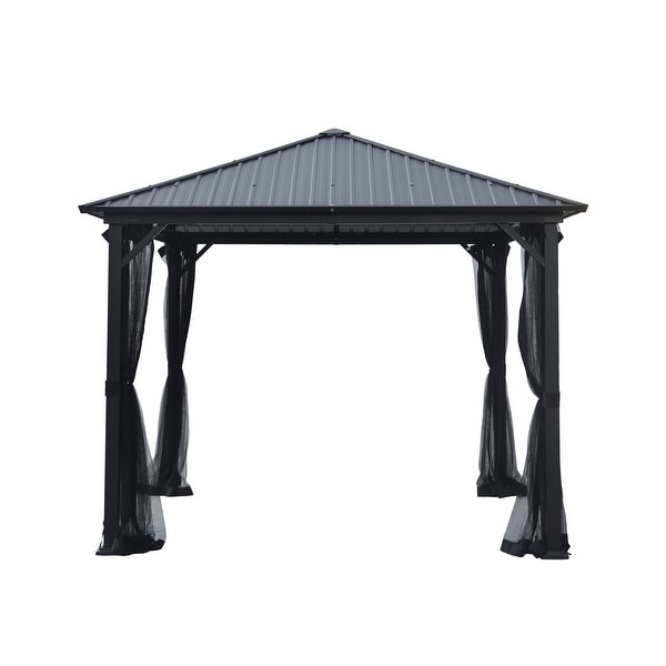 Pablo 10-foot Square Hardtop Aluminum Gazebo by Christopher Knight Home. Opens flyout.