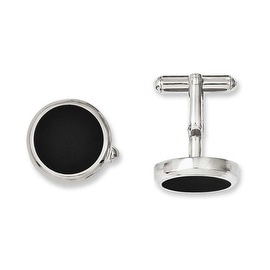 Chisel Stainless Steel Black IP Circle Cuff Links