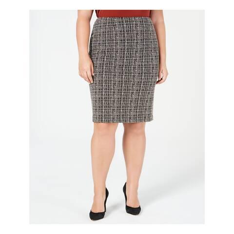 KASPER Womens Black Printed Knee Length Wear To Work Skirt Plus Size: 18W