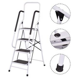Costway 330Lbs Load Capacity Non-slip 4 Step Ladder Folding