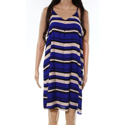 Vince Camuto Blue Women's Size Small S Striped V-Neck Shift Dress