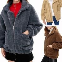 Women's Coat Fashion Lapel Faux Shearling Shaggy Oversized Coat Jacket Warm Winter