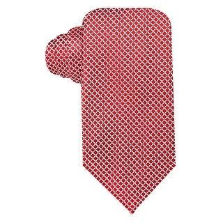 Geoffrey Beene Red Silver Mini-Grid Silk Blend Tie Classic One Size Necktie