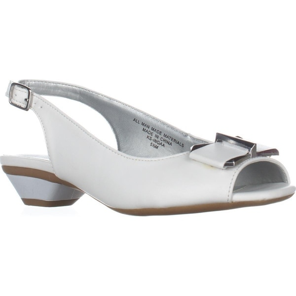KS35 Inga Peep Toe Kitten Heels, White