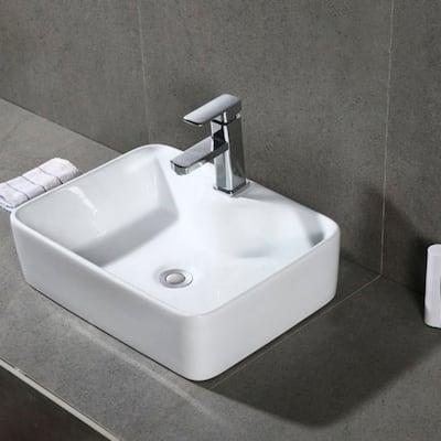 "SAFAVIEH Solea Fen Porcelain Ceramic Vitreous Rectangular 19 Inch White Bathroom Vessel Sink - 18.9"" x 14.6"" x 5.1"""