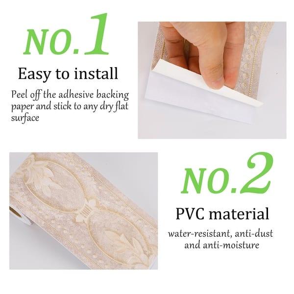 Wall Paper Border Self Sticker Peony Pattern for Kitchen Bedroom Window Decor