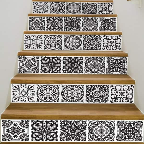 ChezMax 3D Retro Pattern Stair Risers Stickers Set Staircase Decals Removable Waterproof Mural Wallpaper for Home Decoration