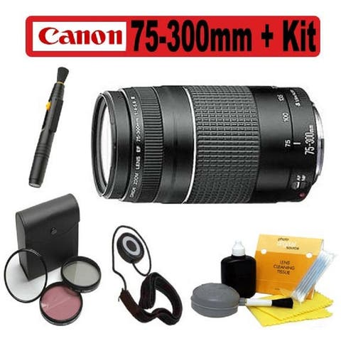 Canon 75-300mm f/4-5.6 EF III Zoom Lens w/ Accessory Bundle