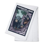 Mammoth Mountain CA Black Bear & Cubs - LP Artwork (100% Cotton Towel Absorbent)