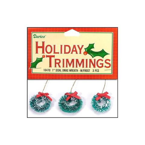"""Darice Holiday Ornament 1"""" Sisal Wreath Frost 3pc"""