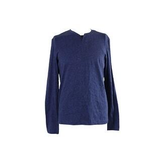 Alfani Indigo Heather Long-Sleeve Split Crew Neck Shirt S
