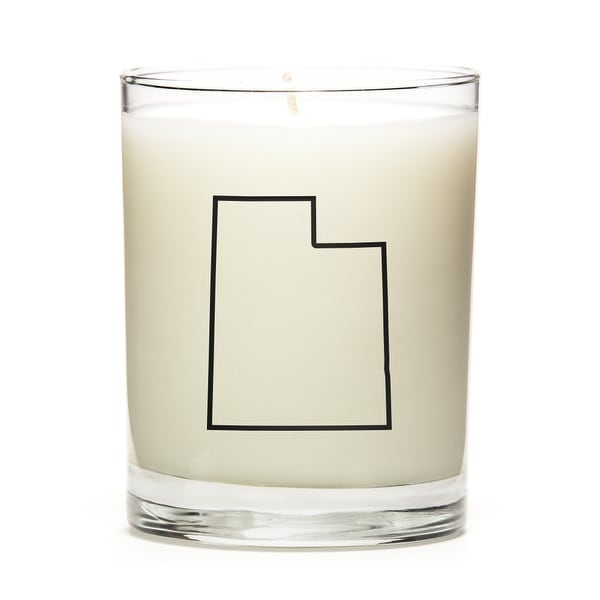 Custom Candles with the Map Outline Utah, Peach Belini