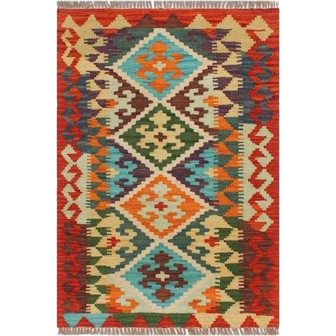 "Vintage Turkish Kilim Jere Hand-Woven Area Rug - 1'11"" x 2'10"""
