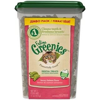 Greenies Feline Dental Treat Salmon - Jumbo Tub - 11OZ