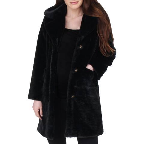 Juicy Couture Black Label Womens Faux Fur Coat Vegan Dressy