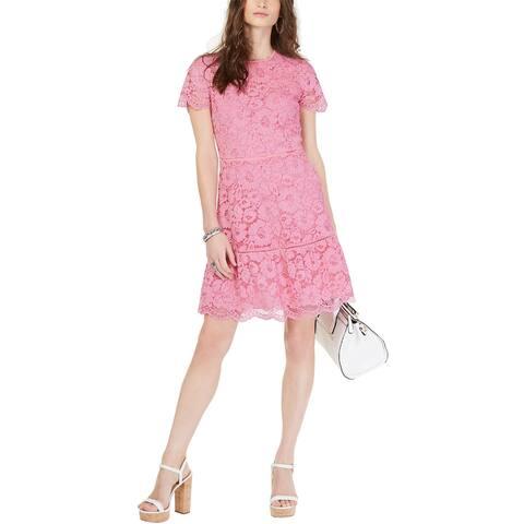 Michael Michael Kors Womens Lace Fit & Flare Dress 16 Carnation