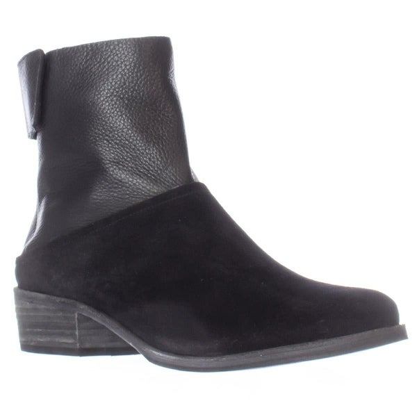 A7EIJE Steiner Flat Casual Ankle Boots, Black