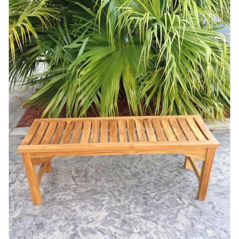 Seven Seas Teak Ocean City Outdoor Teak Wood Patio Backless Bench, 4 Foot
