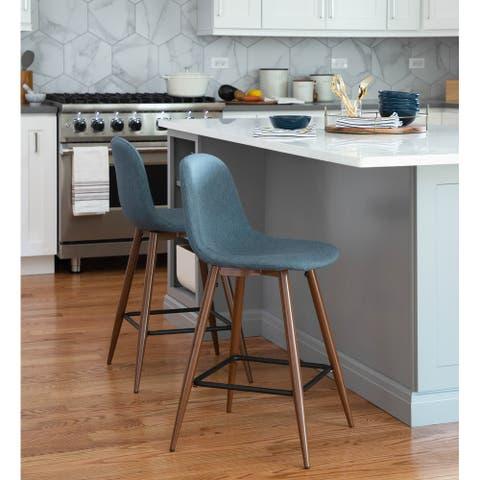Pebble Mid-Century Modern Upholstered Kitchen Counter Stool (Set of 2)