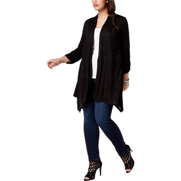 BCX Womens Plus Cardigan Sweater Velvet Mesh Back - 2X