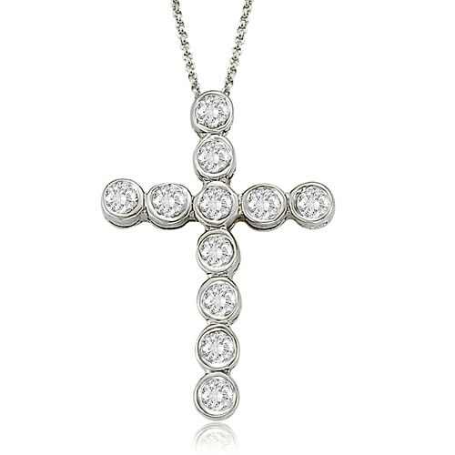 0.75 cttw. 14K White Gold Bezel Diamond Cross Pendant