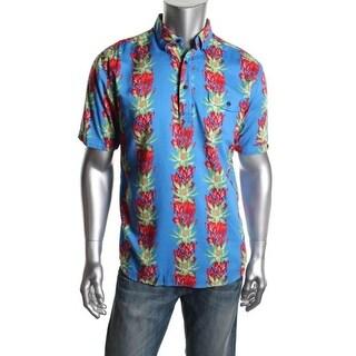 Cubavera Mens Cotton Floral Print Button-Down Shirt - L