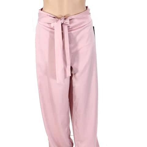 Ontwelfth Women's Pants Pink Size Large L Satin Tie-Waist Shirred