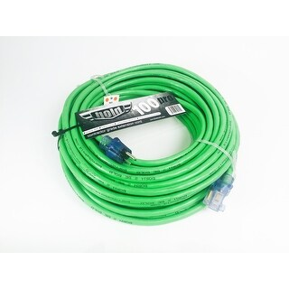 Bold 100' 12/3 AWG SJTW Contractor Grade Lighted Extension Cord, Green