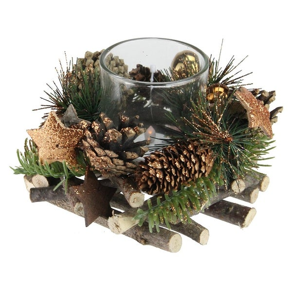 4 winter foliage copper pine cone christmas votive candle holder gold - How To Decorate Votive Candle Holders For Christmas