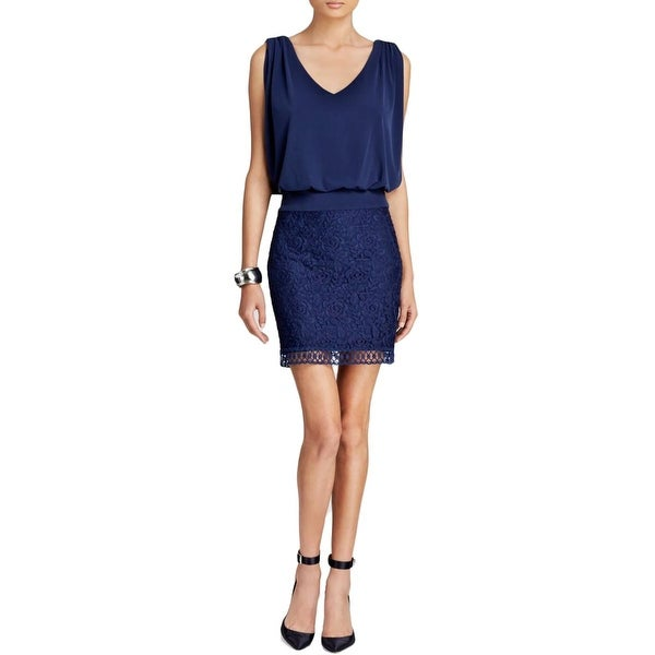 Laundry by Shelli Segal Womens Cocktail Dress Matte Jersey Lace Overlay