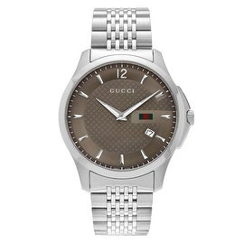 Gucci Men's 'G-Timeless' YA126310 Round Case Stainless Steel Bracelet Watch